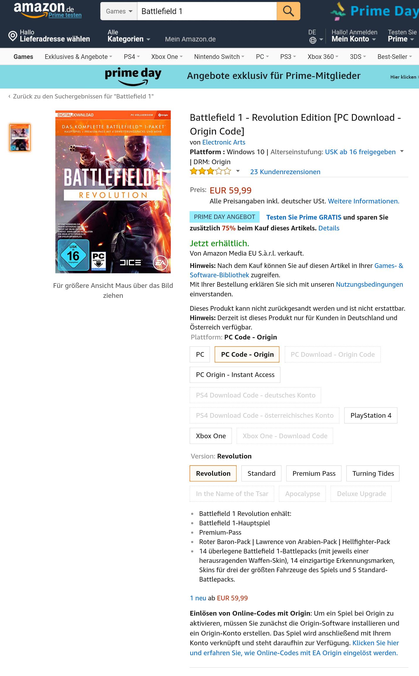 Battlefield 1 Revolution (PC Download Origin Code) - Amazon Prime