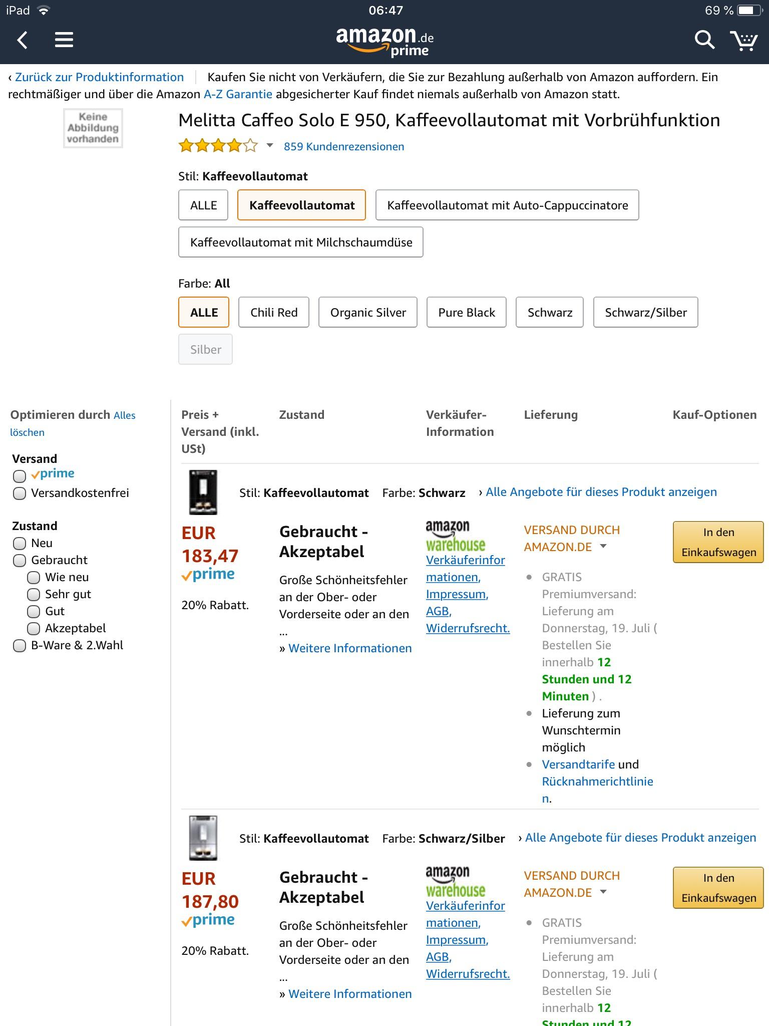 Melitta Caffeo Solo über Warehousedeals [Amazon Prime]