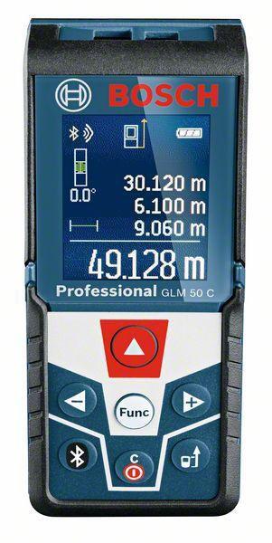 Bosch Professional Laser-Entfernungsmesser GLM 50 C (Bluetooth Schnittstelle für Apps, Messbereich: 0,05-50 m, in Schutztasche)