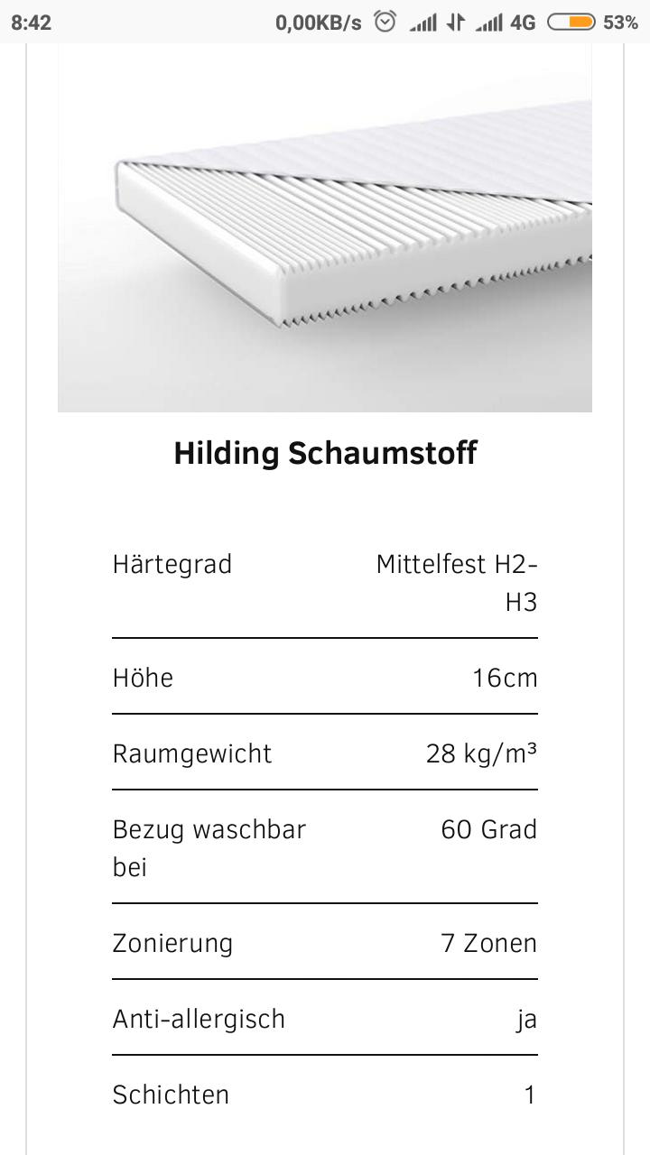 Hilding Sweden Essentials 140x200 cm Schaumstoffmatratze in Weiß/Mittelfeste Matratze