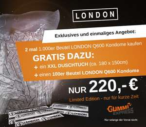 2100 Kondome London Q600 + XXL-Badetuch gratis