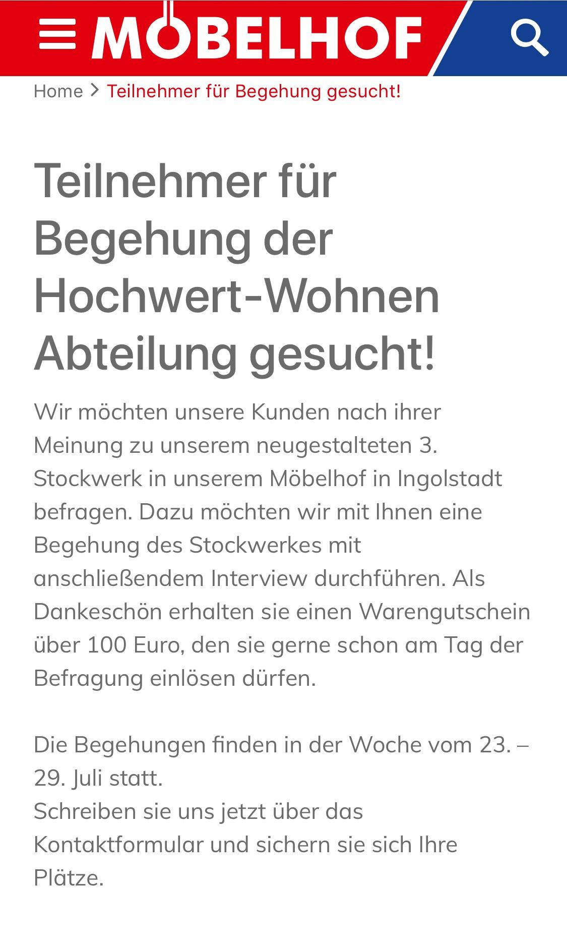 Möbelhof Ingolstadt 100€ Gutschein