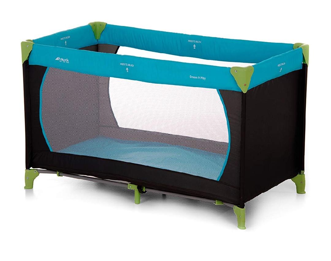 [Primeday Blitzangebot bis 18.30 Uhr] Hauck Kinderreisebett Dream N Play, inkl. Hauck Reisebettmatratze, tragbar und klappbar, 120 x 60 cm, blau/schwarz/grün (waterblue)