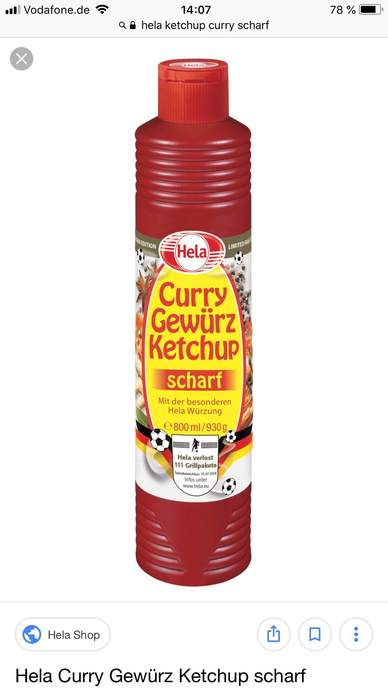Lokal Magdeburg Hela Curry Gewürz Ketchup 0,59€