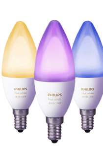 Prime Day - NUR Prime! Philips Hue White and Color Ambiance E14 LED Kerze Dreierpack, dimmbar, bis zu 16 Millionen Farben, steuerbar Via App, Kompatibel mit Amazon Alexa (Echo, Echo Dot)