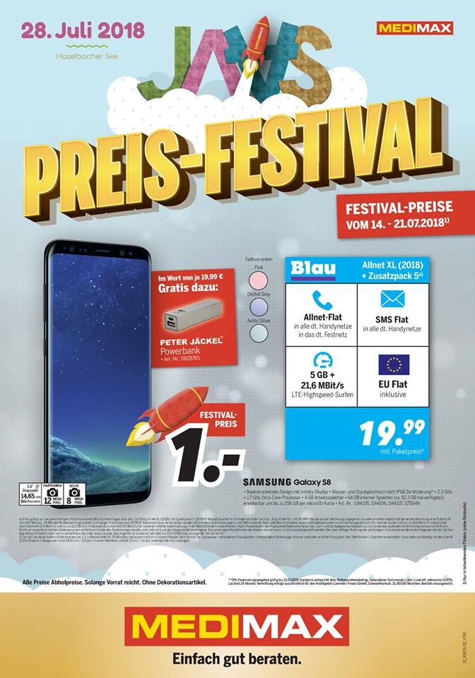 lokal Glauchau: Blau 5 GB Allnet Flat + Samsung Galaxy S8 für 19,99€ mtl.