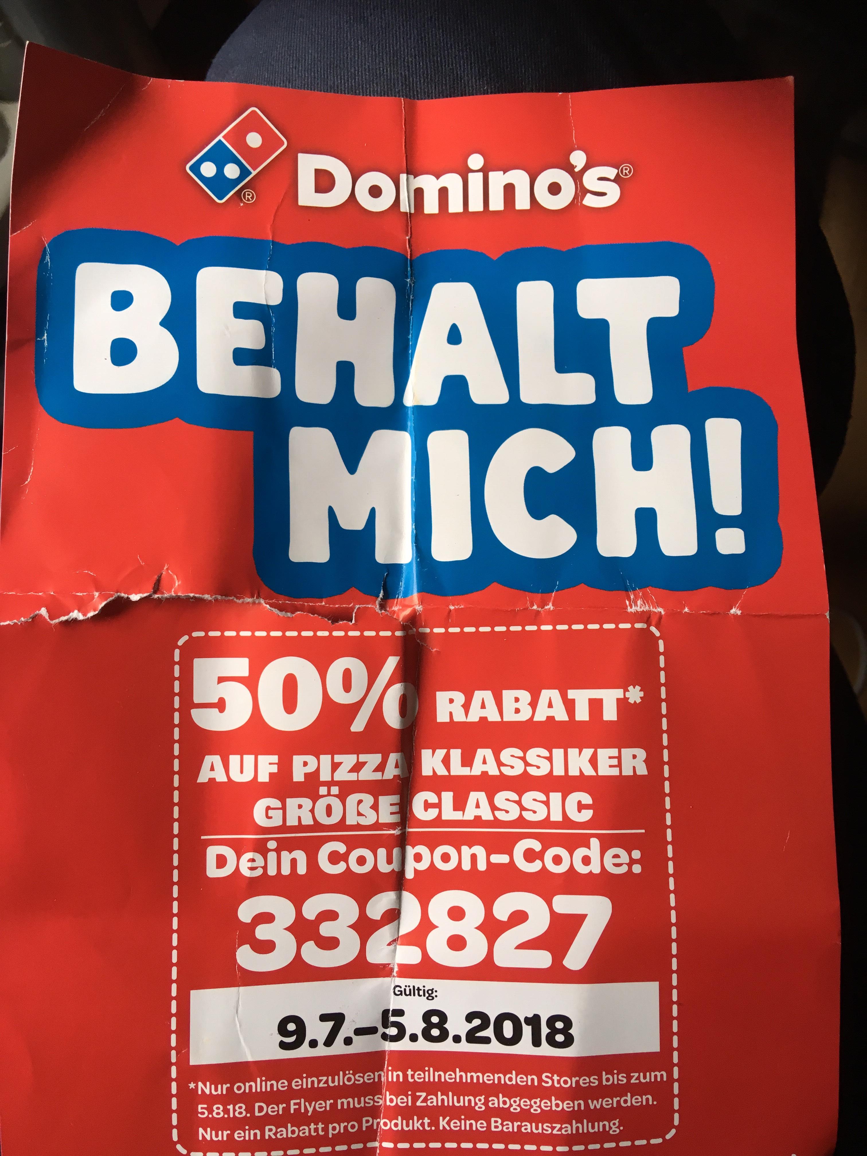 """bis 5.08. : Domino's Code für 50% Rabatt auf alle Pizza Klassik Größe """"Classic"""" nur online"""