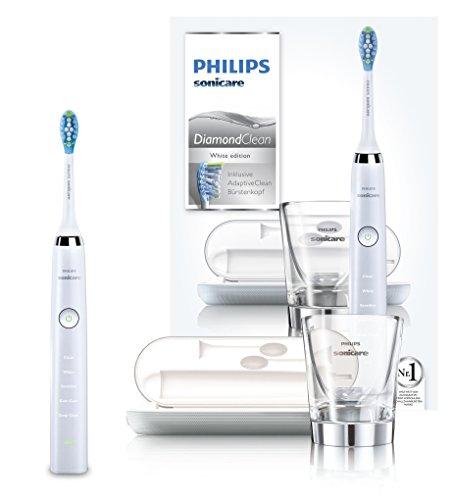 [Amazon Prime Day] Philips Sonicare DiamondClean Neue Generation Elektrische Zahnbürste HX9339/89 - Schallzahnbürste mit 5 Putzprogrammen, Timer, USB-Reise-Ladeetui & Ladeglas/Weiß