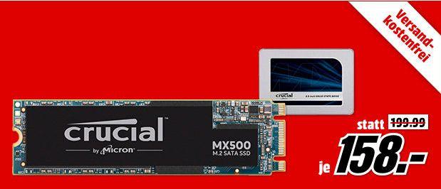 [Mediamarkt] Crucial MX500 1TB Interne SSD (3D NAND, SATA, 2,5 Zoll) für 158,-€