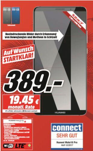 [Regional Mediamarkt Berlin/Brandenburg-Alle 19 Filialen ab 19.07] Huawei Mate 10 Pro ,128 GB, Android 8.0, DualNano-SIM, IP67 in 2 Farben für je 389,-€