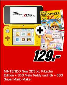 [Mediamarkt] NEW 2DS XL Pikachu Edition + Mein Teddy + Super Mario Maker für 129,-€