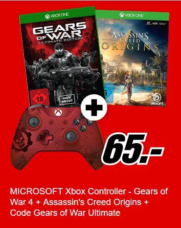 Microsoft Xbox Wireless Controller Gears of War 4 Crimson Omen Limited Edition + Assassins Creed Origins + GOW1 Code für 65,-€ [Mediamarkt]