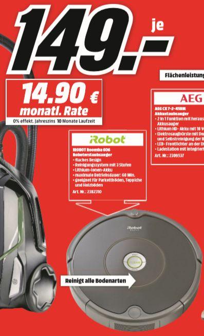[Regional Mediamarkt Berlin/Brandenburg-Alle 19 Filialen ab 19.07] iRobot Saugroboter Roomba 606 - (Spannung Akku: 14,4 V, Behältervolumen: 0,5 l, Betriebsdauer: 60 min) für 149,-€