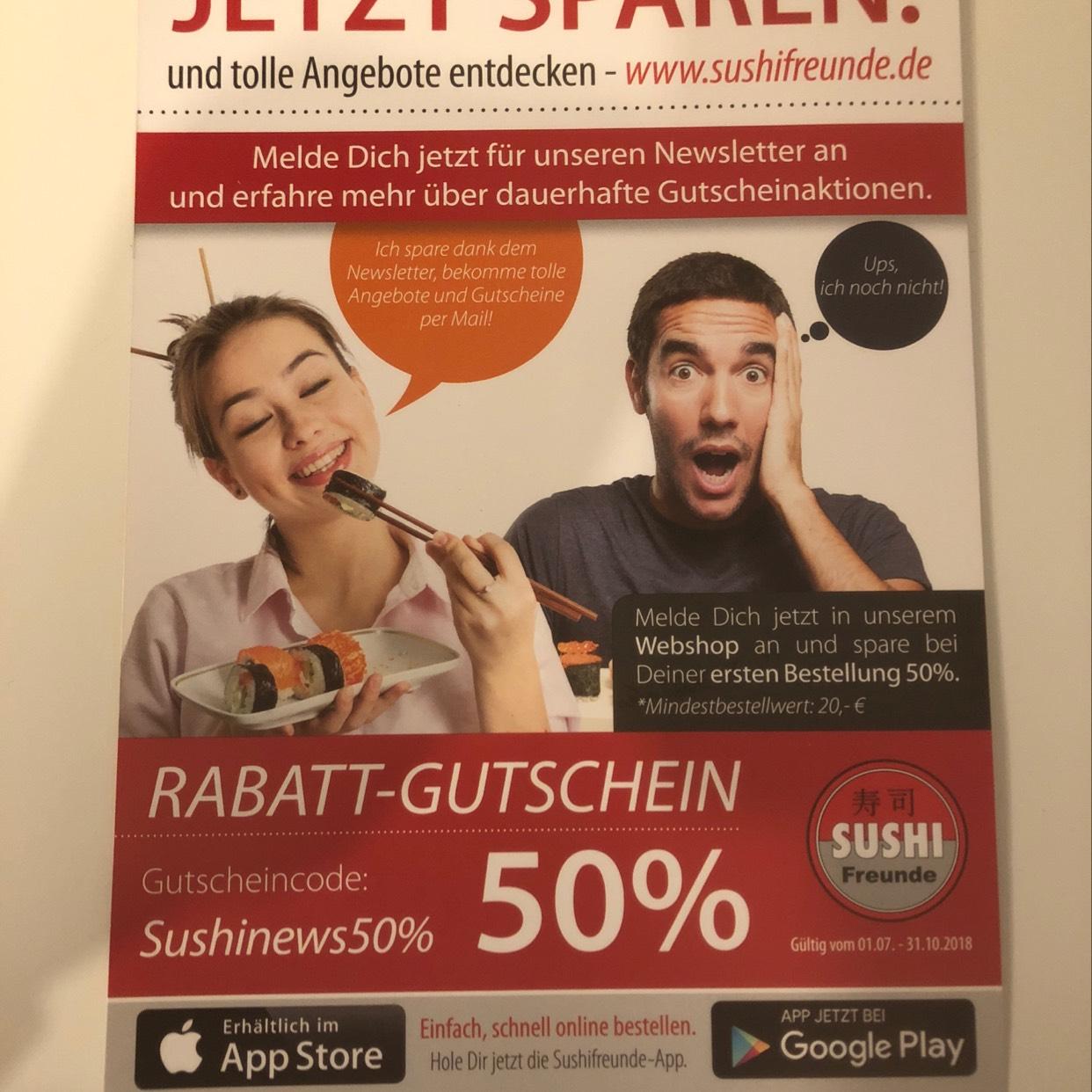 [LOKAL] 50% Rabatt auf die erste Bestellung bei Sushifreunde durch Newsletteranmeldung