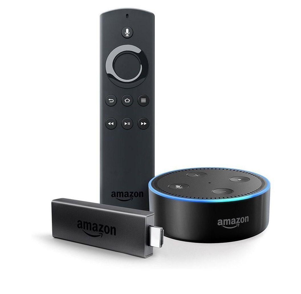 Fire TV Stick mit Alexa-Sprachfernbedienung + Echo Dot (Schwarz oder Weiß)