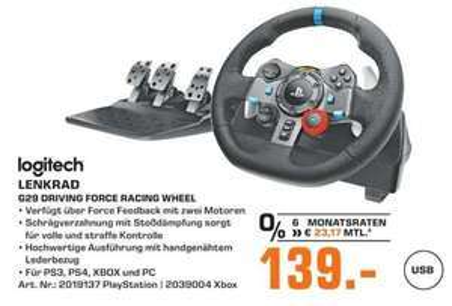 [Regional Saturn Sankt Augustin/Siegburg,Hennef,Troisdorf] Logitech G29 Racing Lenkrad Driving Force für PS4, PS3, PC für 139,-€