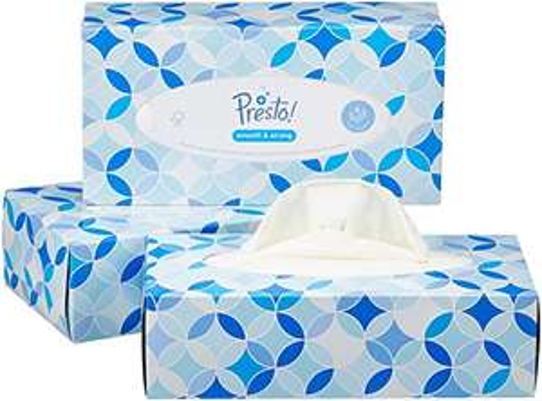 Presto! 4-lagige Papiertaschentücher-Boxen, 12er Pack (12 x 100 Tücher) -20% Rabatt