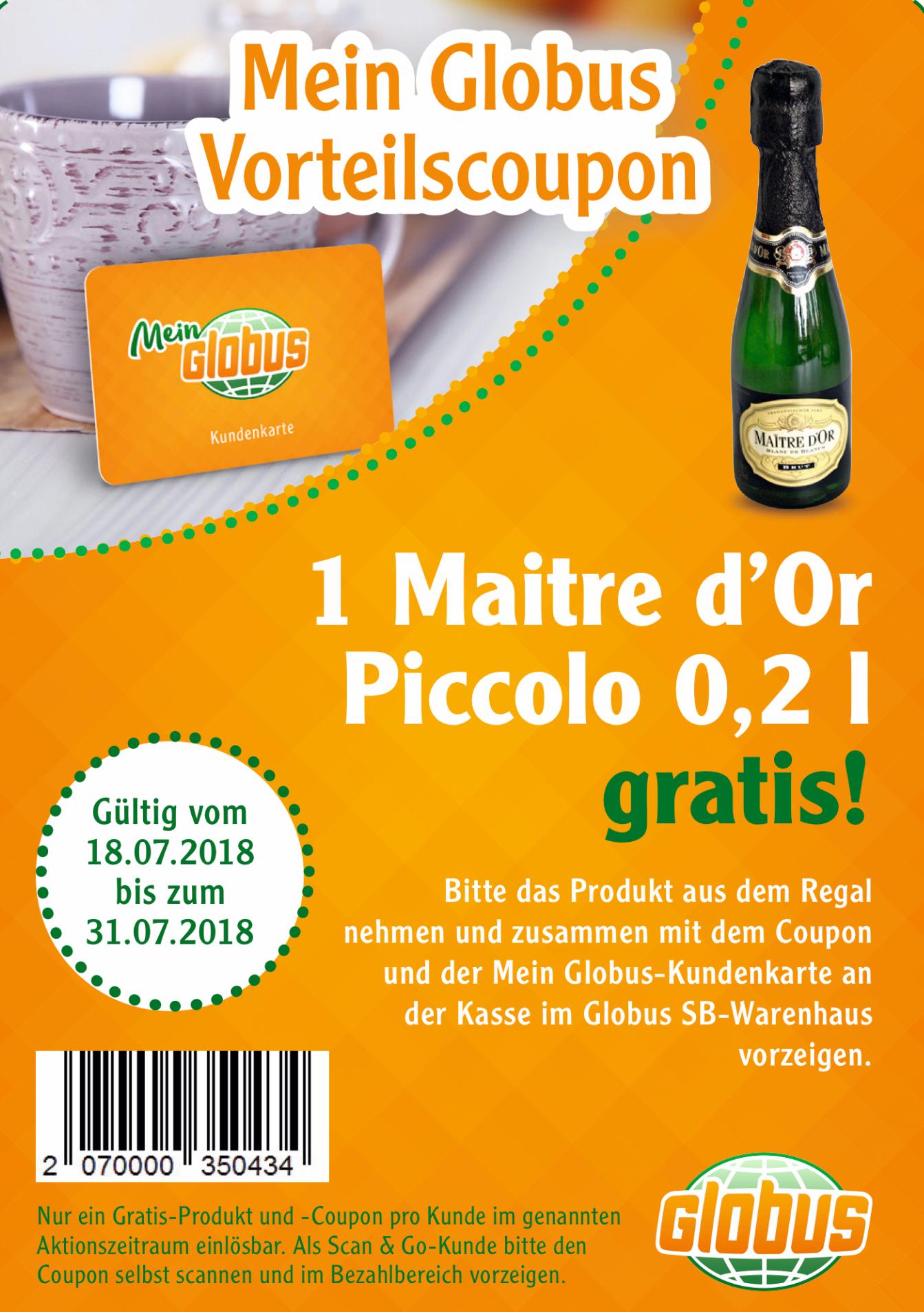 [Globus Freebie]  1 Flasche Piccolo Maitre d'Or mit Kundenkarte