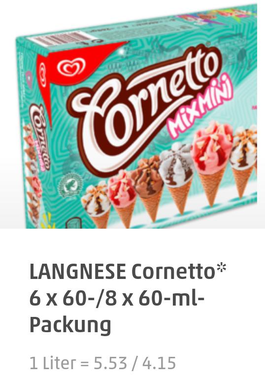 Lagnese Cornetto Mini Eis durch 0,35€ Marktguru für 1,64€ bei Penny (Bundesweit)