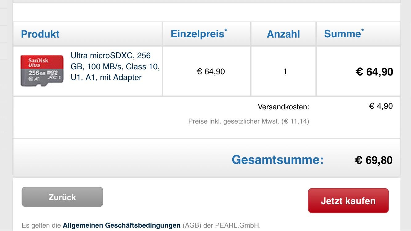 [Pearl.de] SanDisk ultra microSDXC 256gb
