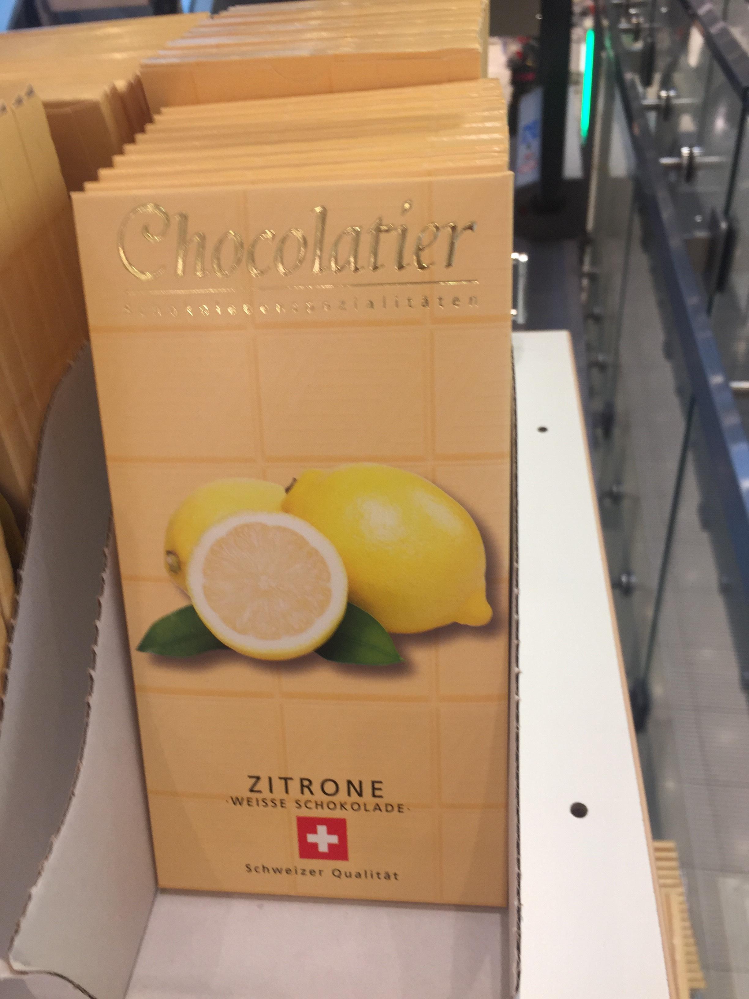Schweizer Schokolade weiß mit Zitronengeschmack 0,29€ lokal Chemnitz