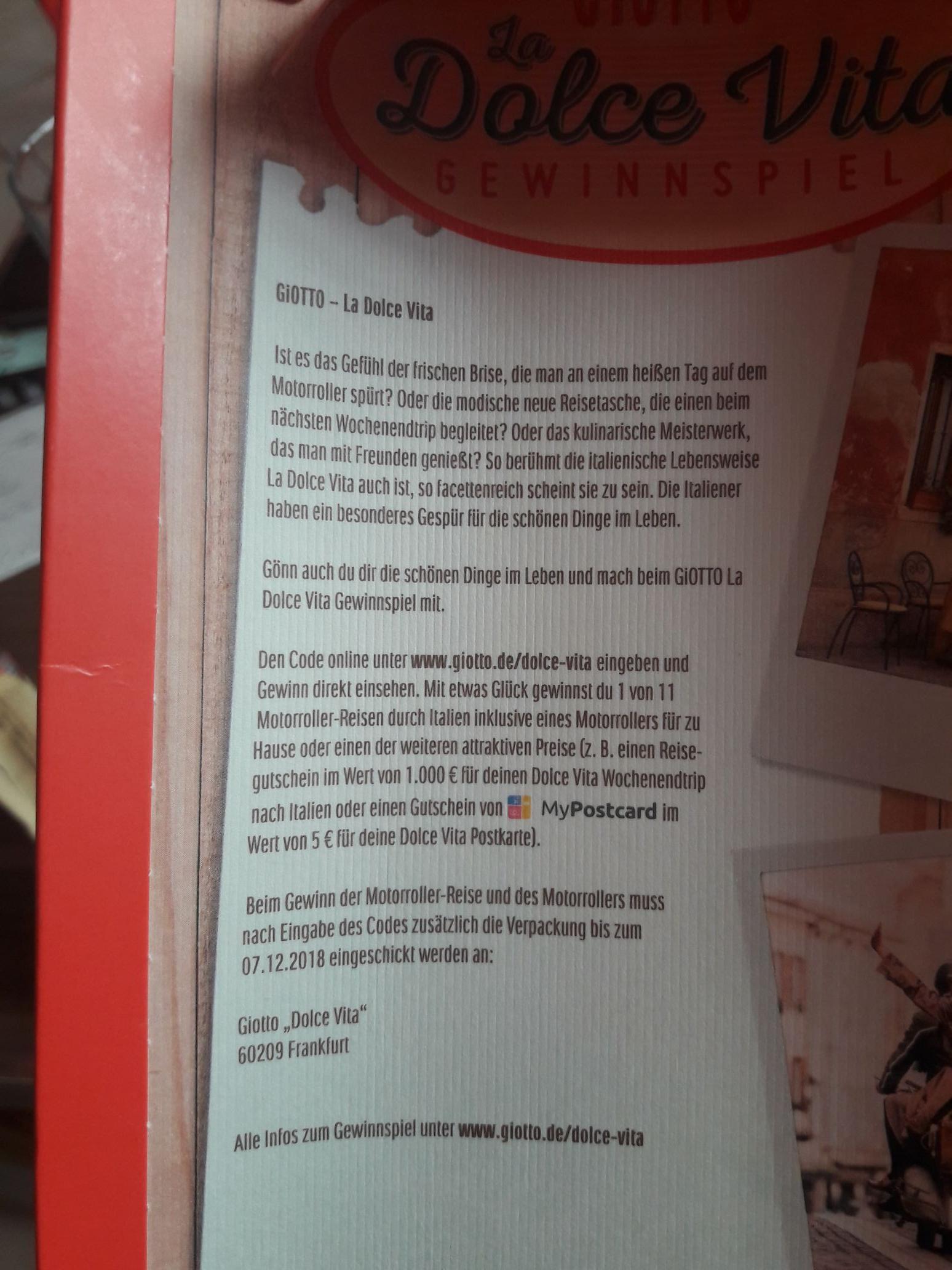 Mindestens 5€ mypostcard Guthaben garantiert in jeder Giotto Aktionspackung
