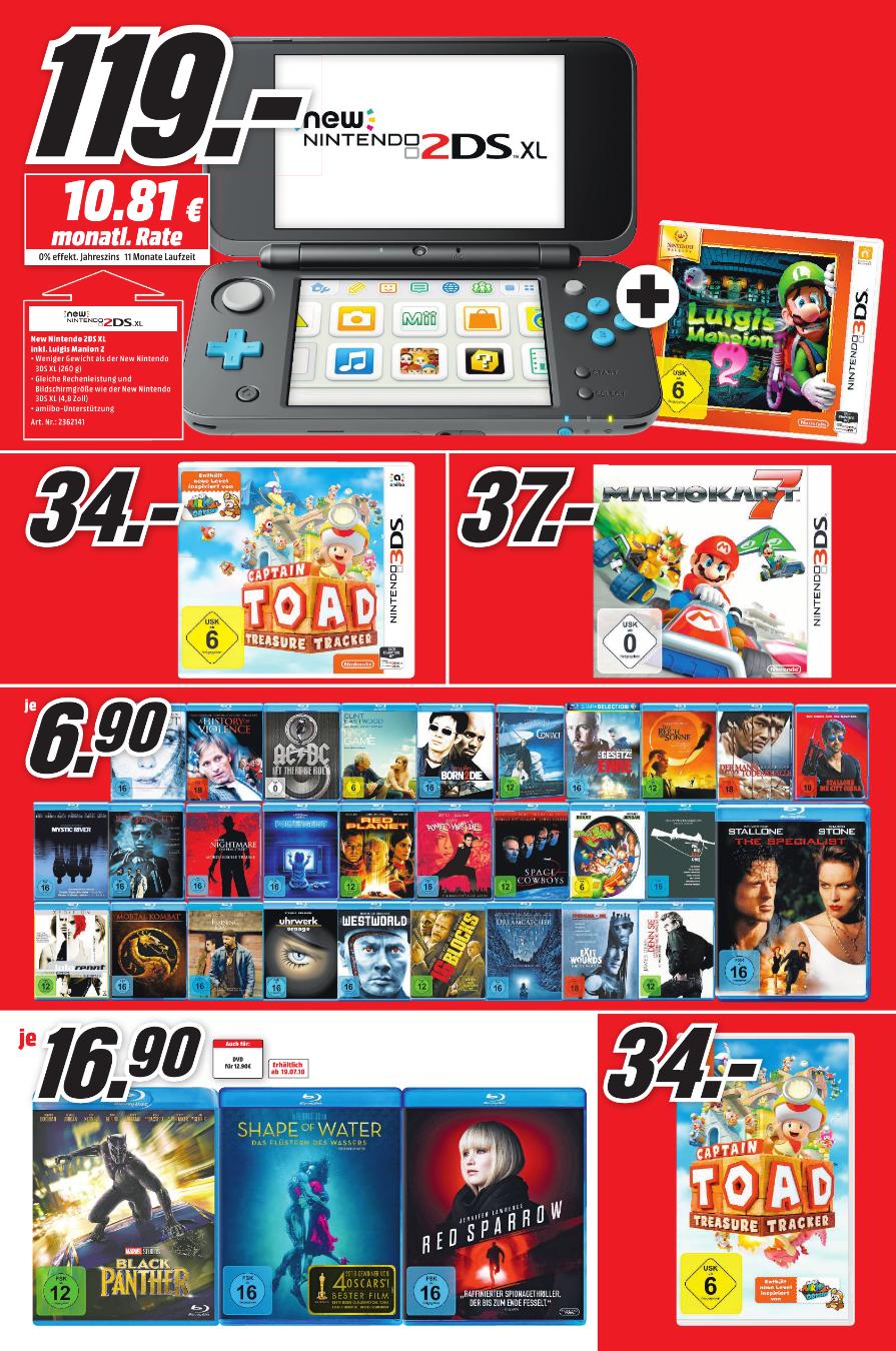 (Regional Mediamarkt Bonn) - New 2DS XL inkl. Lugis Mansion 2 für 119,-€