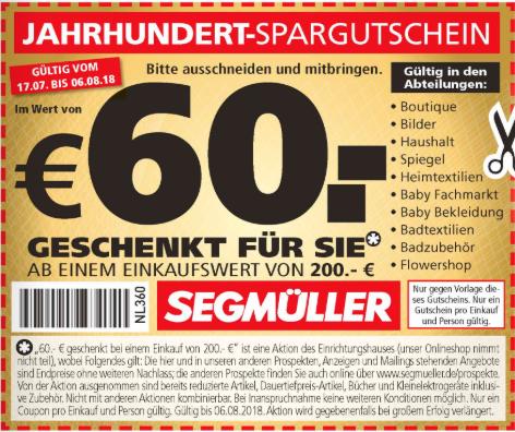 [Segmüller] 30€ ab 100€ / 60€ ab 200€ Spargutschein [Weiterstadt/Parsdorf/Pulheim/Friedberg]