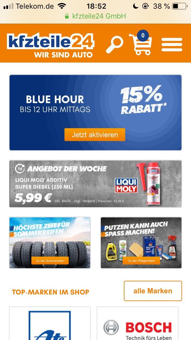 15% Rabatt bei KFZteile24.de