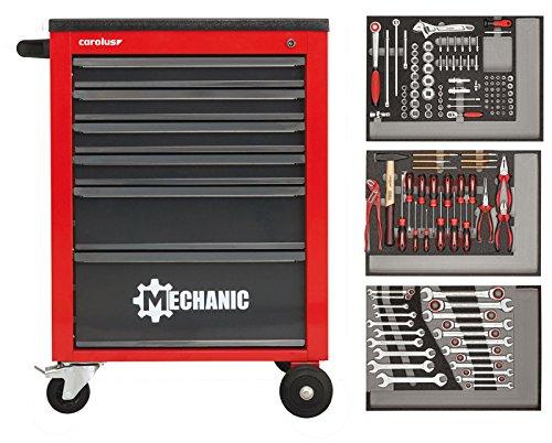 CAROLUS Werkstattwagen Mechanic mit Werkzeugsatz 132-teilig, in rot oder blau