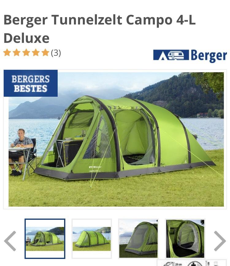 Berger Tunnelzelt Campo 4-L Deluxe Aufblasbares Zelt