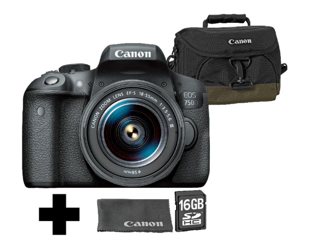 CANON EOS 750D VUK DFIN III Spiegelreflexkamera 24.2 Megapixel mit Objektiv 18-55 mm f/5.6, (+Tasche, 16 GB Speicherkarte, Reinigungstuch), 7.7 cm Touchscreen, WLAN, Full-HD, CMOS Sensor, NFC