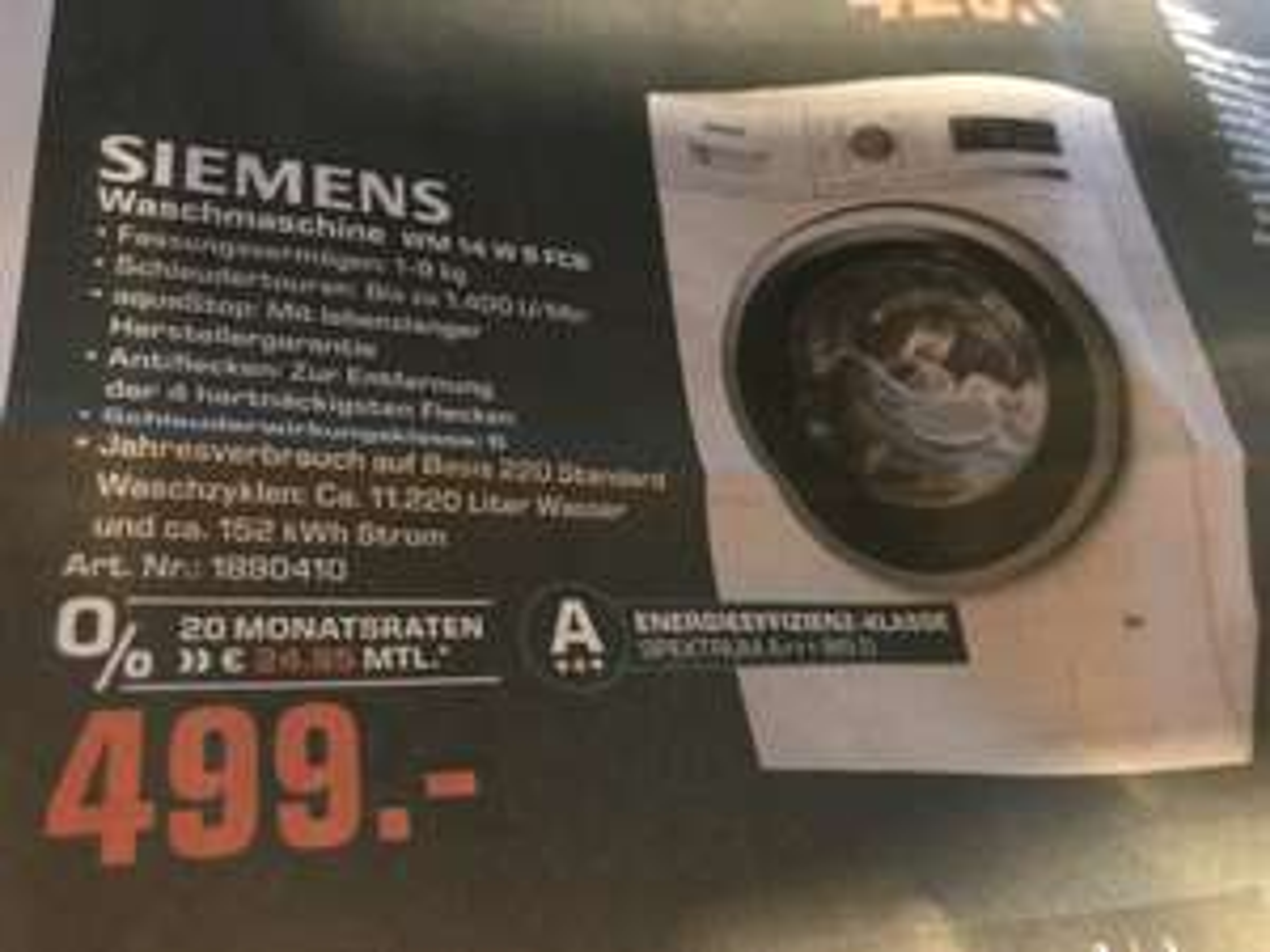 Siemens Waschmaschine (Vollautomat) WM14W5FCB / Saturn Duisburg / LOKAL