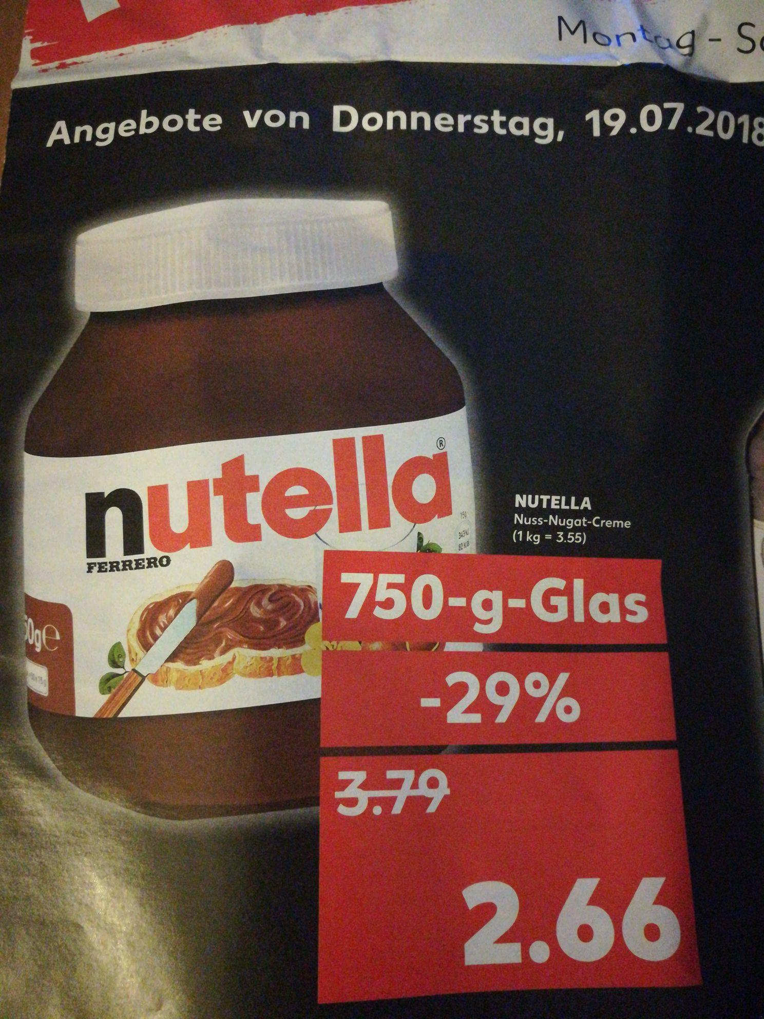 [Kaufland] Nutella 750g  für 2,66€ (bundesweit?)