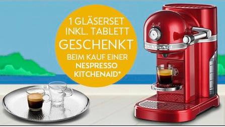 KitchenAid Artisan Nespresso 5KES0503 in 5 verschiedenen Farben für 249€ mit Espressogläser-Set + Tablett