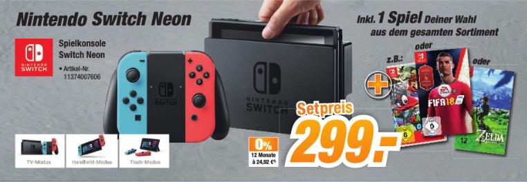 [Lokal ?] Nintendo Switch Neon + 1 Spiel nach Wahl