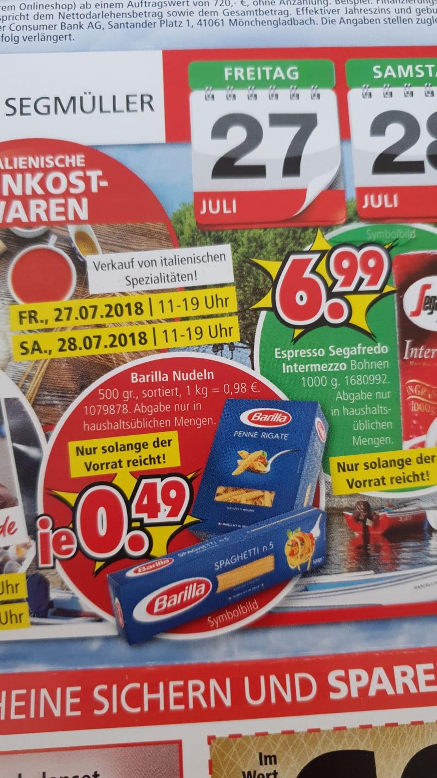 [Lokal Köln Pulheim][Segmüller] Barilla Nudeln versch. Sorten 500gr. Packung für 0,49€