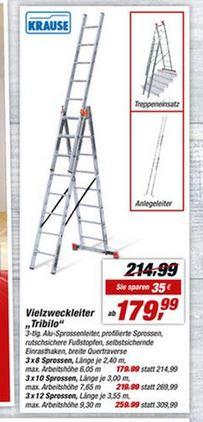 Krause Tribilo Vielzweckleiter 3x12 Sprossen mit Treppenfunktion