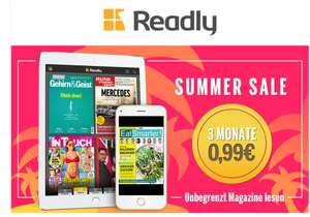 Readly Zeitung Abo 3 Monate für 0,99 Euro