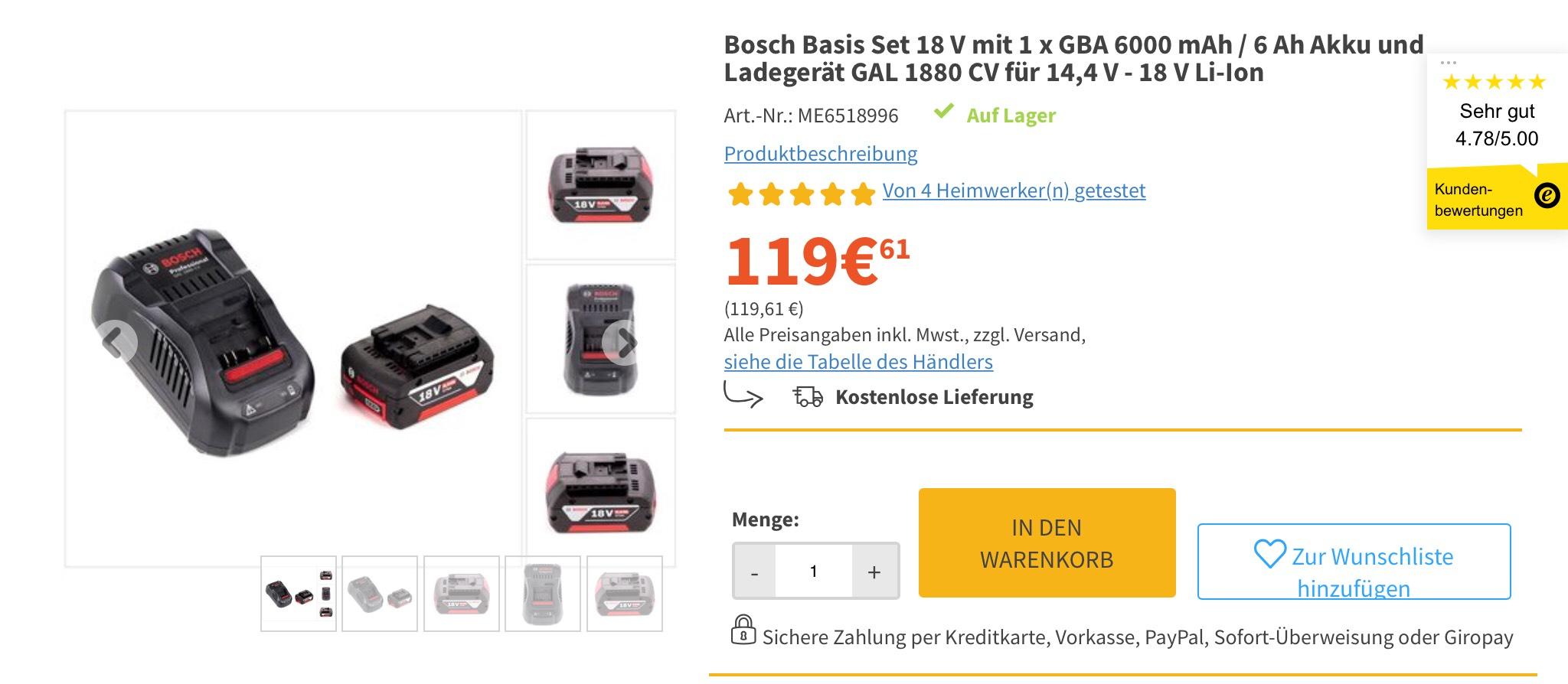 Bosch Basis Set 18 V mit 1 x GBA 6000 mAh / 6 Ah Akku und Ladegerät GAL 1880 CV für 14,4 V - 18 V Li-Ion