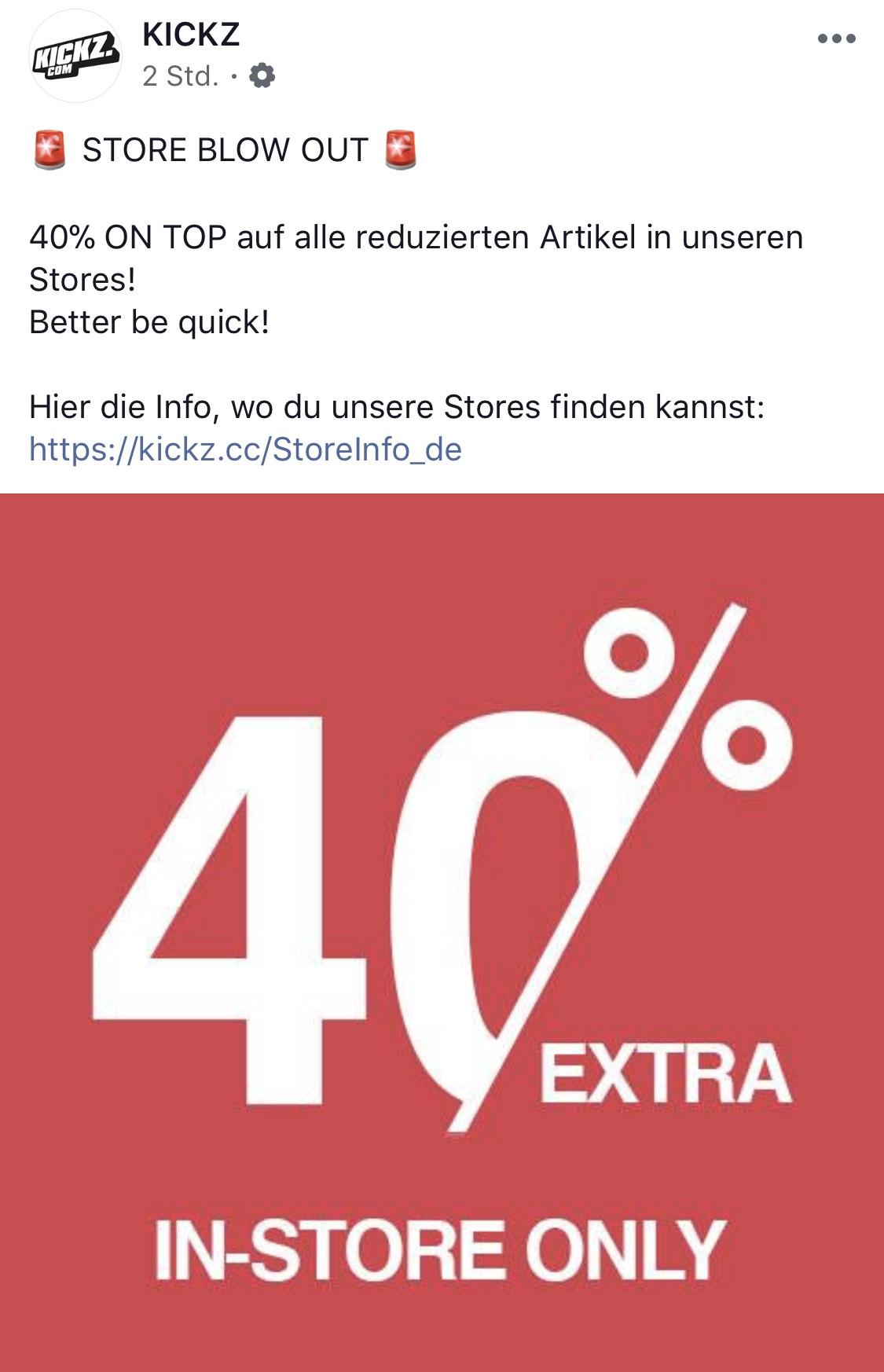 [lokal - München Berlin Hamburg Köln uvm] KICKZ - 40% auf alle bereits reduzierten Artikel