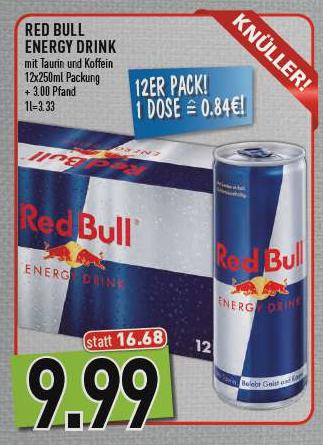 Marktkauf  Südbayern - 12 Dosen Red Bull für 9,99€ 12,99€ inkl. Pfand | 84ct/Dose