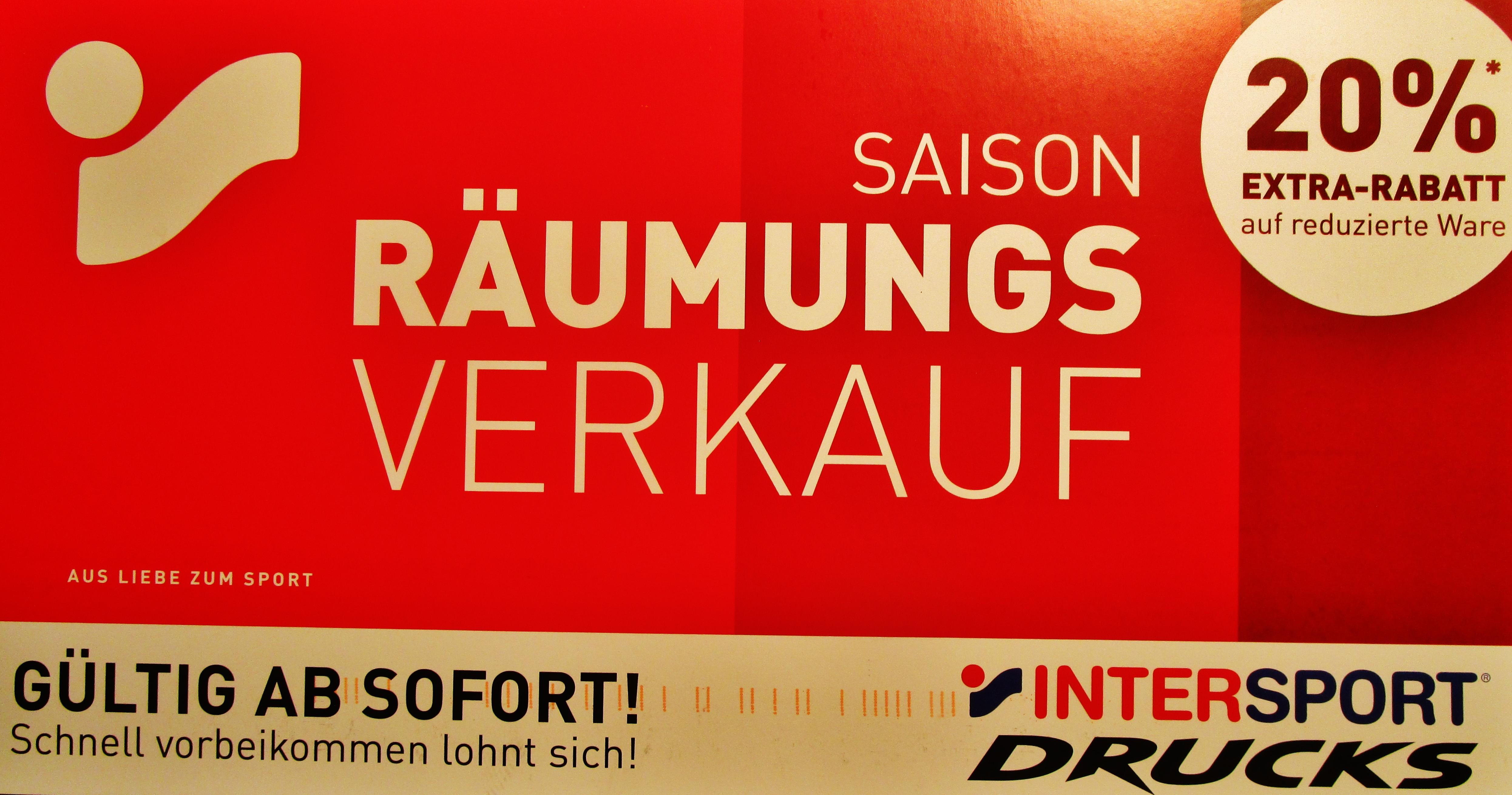Aachen: Intersport Drucks Räumungsverkauf