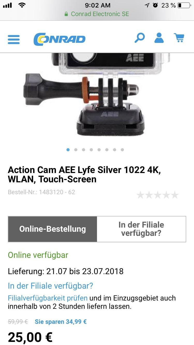 [CONRAD] Tageshighlight + MBW für Gratisversand + Newsletter GS: AEE lyfe Silver 4K WLAN Action Cam