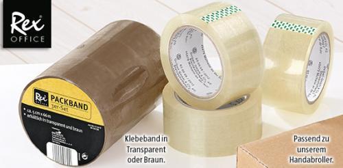 (ALDI SÜD ab 1. Okt) REX 3er Pack Klebeband (66m lang, 5cm breit) Braun + Transparent