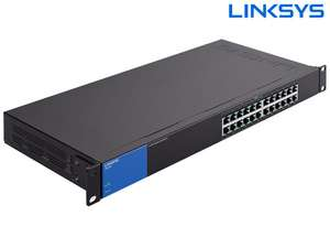 Linksys LGS124 24-Port Gigabit Switch (48 GB/s, unmanaged, passive Kühlung, Rackmount)