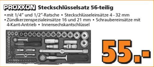 """Proxxon Steckschlüsselsatz 1/2 """" + 1/4"""" 56-tlg. für 55 € [Globus Baumarkt]"""
