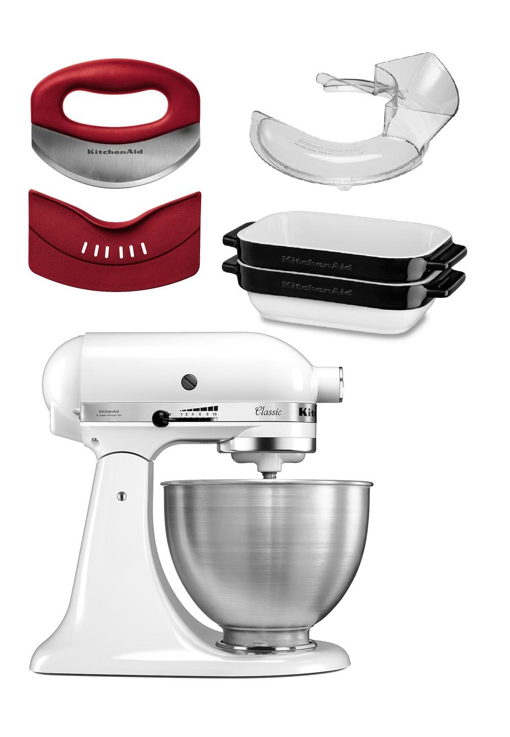Kitchenaid Classic Küchenmaschine 5K45SS + Gemüse Set + Mini Bäcker Set + Spritzschutz [brands4friends], ggf. 15 € Neukunden-Bonus, 4 % Shoop