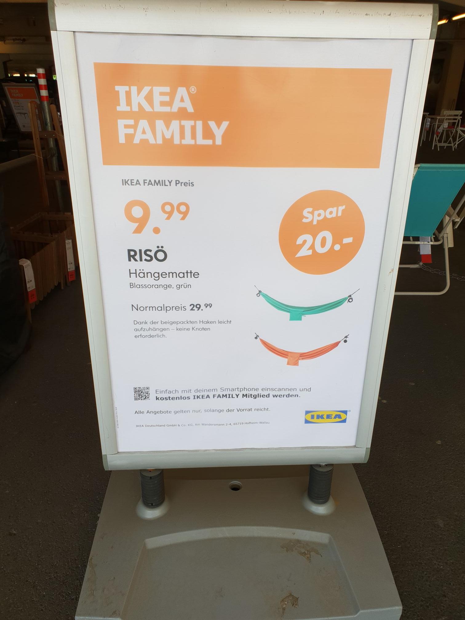 [Köln Butzweilerhof] IKEA Family Risö Hängematte 9.99 Euro anstatt 29.99 Euro