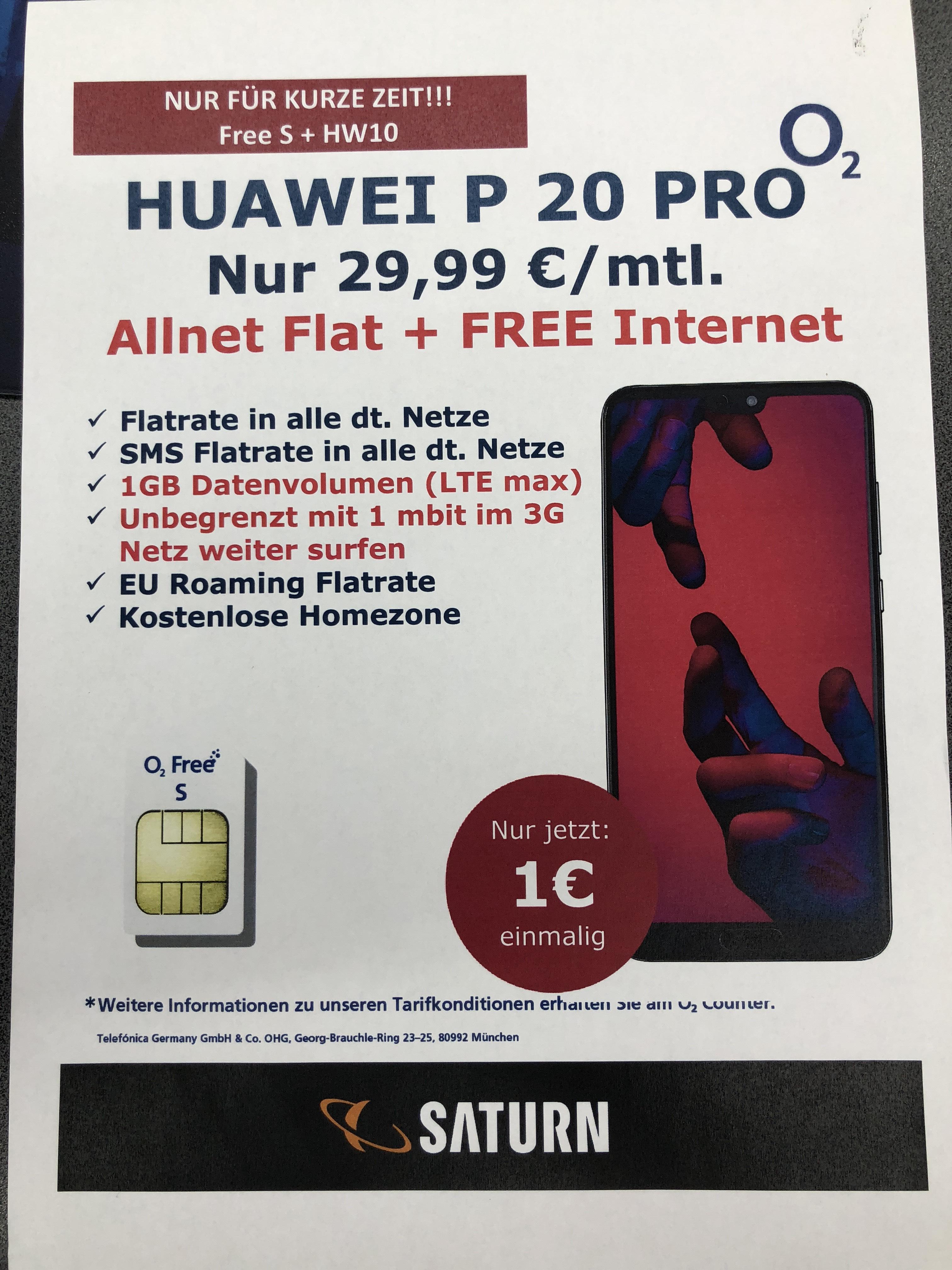 Lokal: Saturn Hannover (Hauptbahnhof) Huawei P 20 Pro für 29,99€ mtl. 1€ zzl.